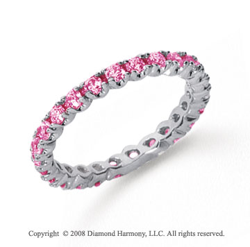 3/4 Carat Pink Sapphire Platinum Round Four Prong Eternity Band