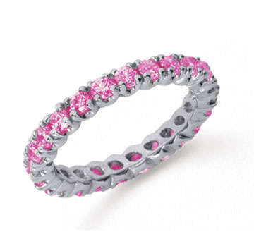 1 Carat Pink Sapphire Platinum Round Four Prong Eternity Band