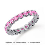 1 1/2 Carat Pink Sapphire Platinum Round Four Prong Eternity Band