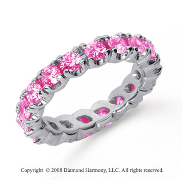 2 1/2 Carat Pink Sapphire Platinum Round Four Prong Eternity Band