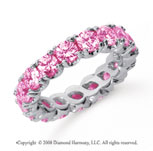 3 Carat Pink Sapphire Platinum Round Four Prong Eternity Band