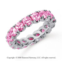 3 1/2 Carat Pink Sapphire Platinum Round Four Prong Eternity Band