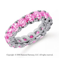 4 1/2 Carat Pink Sapphire Platinum Round Four Prong Eternity Band