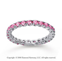 3/4 Carat Pink Sapphire 14k White Gold Round Four Prong Eternity Band