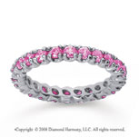 1 Carat Pink Sapphire 14k White Gold Round Four Prong Eternity Band