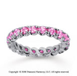 1 1/2 Carat Pink Sapphire 14k White Gold Round Four Prong Eternity Band