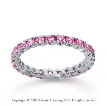 3/4 Carat Pink Sapphire 18k White Gold Round Four Prong Eternity Band