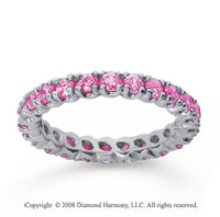 1 Carat Pink Sapphire 18k White Gold Round Four Prong Eternity Band