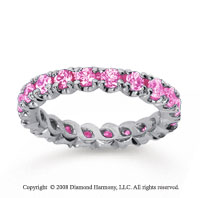 1 1/2 Carat Pink Sapphire 18k White Gold Round Four Prong Eternity Band