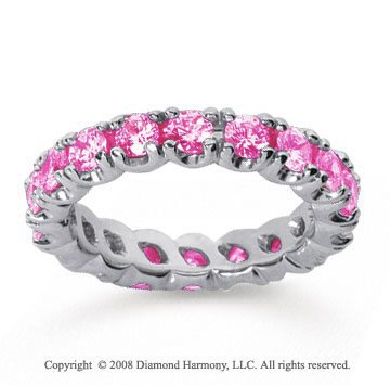 2 Carat Pink Sapphire 18k White Gold Round Four Prong Eternity Band