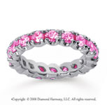 2 1/2 Carat Pink Sapphire 18k White Gold Round Four Prong Eternity Band