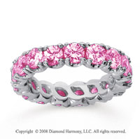 3 1/2 Carat Pink Sapphire 18k White Gold Round Four Prong Eternity Band