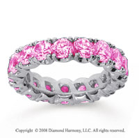 4 1/2 Carat Pink Sapphire 18k White Gold Round Four Prong Eternity Band