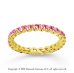 3/4 Carat Pink Sapphire 14k Yellow Gold Round Four Prong Eternity Band