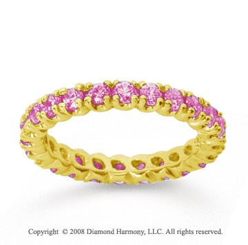 1 Carat Pink Sapphire 14k Yellow Gold Round Four Prong Eternity Band