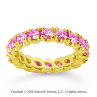 2 1/2 Carat Pink Sapphire 14k Yellow Gold Round Four Prong Eternity Band