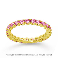 3/4 Carat Pink Sapphire 18k Yellow Gold Round Four Prong Eternity Band