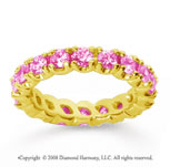 2 1/2 Carat Pink Sapphire 18k Yellow Gold Round Four Prong Eternity Band