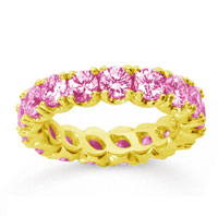 3 1/2 Carat Pink Sapphire 18k Yellow Gold Round Four Prong Eternity Band
