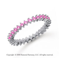 3/5 Carat Pink Sapphire Platinum Round Open Prong Eternity Band