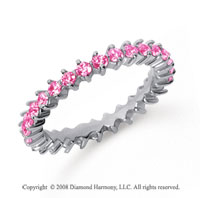1 Carat Pink Sapphire Platinum Round Open Prong Eternity Band