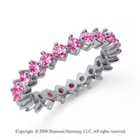 1 1/2 Carat Pink Sapphire Platinum Round Open Prong Eternity Band