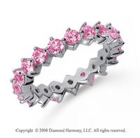 2 Carat Pink Sapphire Platinum Round Open Prong Eternity Band