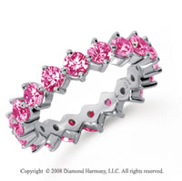 2 1/2 Carat Pink Sapphire Platinum Round Open Prong Eternity Band
