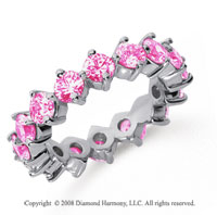 3 1/2 Carat Pink Sapphire Platinum Round Open Prong Eternity Band