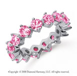 4 Carat Pink Sapphire Platinum Round Open Prong Eternity Band