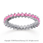 1 Carat Pink Sapphire 14k White Gold Round Open Prong Eternity Band