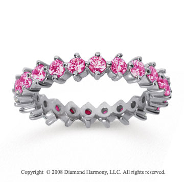 1 1/2 Carat Pink Sapphire 14k White Gold Round Open Prong Eternity Band