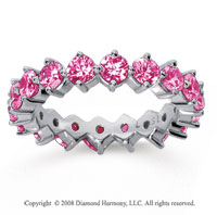 2 1/2 Carat Pink Sapphire 14k White Gold Round Open Prong Eternity Band