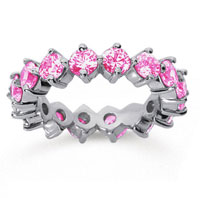3 Carat Pink Sapphire 14k White Gold Round Open Prong Eternity Band
