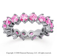 3 1/2 Carat Pink Sapphire 14k White Gold Round Open Prong Eternity Band