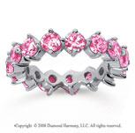 4 Carat Pink Sapphire 14k White Gold Round Open Prong Eternity Band