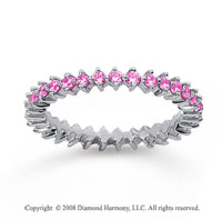 3/5 Carat Pink Sapphire 18k White Gold Round Open Prong Eternity Band