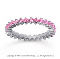 1 Carat Pink Sapphire 18k White Gold Round Open Prong Eternity Band