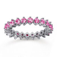 1 1/2 Carat Pink Sapphire 18k White Gold Round Open Prong Eternity Band