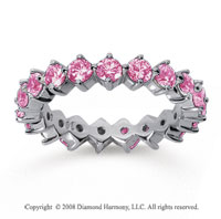 2 Carat Pink Sapphire 18k White Gold Round Open Prong Eternity Band