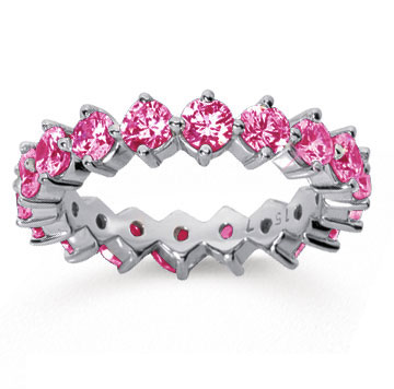 2 1/2 Carat Pink Sapphire 18k White Gold Round Open Prong Eternity Band