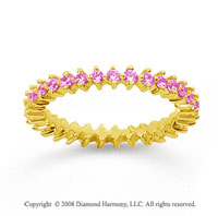 3/5 Carat Pink Sapphire 14k Yellow Gold Round Open Prong Eternity Band