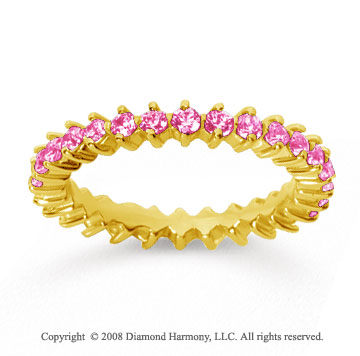 1 Carat Pink Sapphire 14k Yellow Gold Round Open Prong Eternity Band