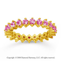 1 1/2 Carat Pink Sapphire 14k Yellow Gold Round Open Prong Eternity Band