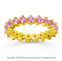2 Carat Pink Sapphire 14k Yellow Gold Round Open Prong Eternity Band