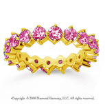 2 1/2 Carat Pink Sapphire 14k Yellow Gold Round Open Prong Eternity Band