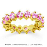 3 1/2 Carat Pink Sapphire 14k Yellow Gold Round Open Prong Eternity Band