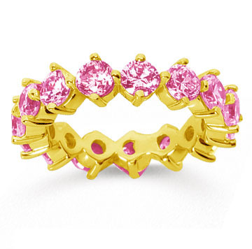 4 Carat Pink Sapphire 14k Yellow Gold Round Open Prong Eternity Band