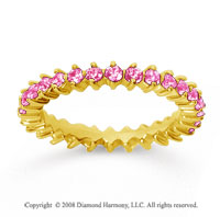 1 Carat Pink Sapphire 18k Yellow Gold Round Open Prong Eternity Band
