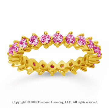 1 1/2 Carat Pink Sapphire 18k Yellow Gold Round Open Prong Eternity Band